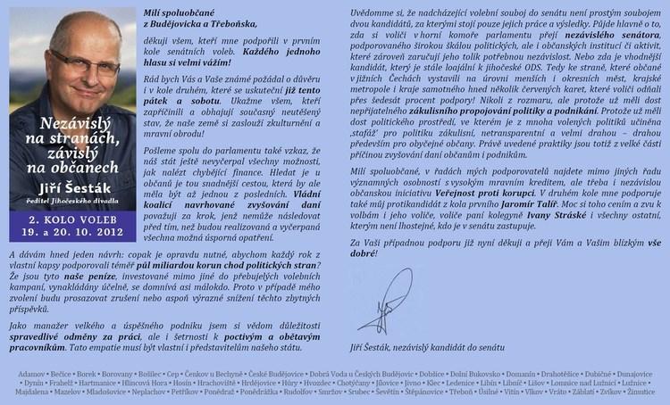 Obrázek kčlánku Podpořte Jiřího Šestáka ve 2.kole senátních voleb!